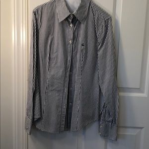 Black and white, small checked button down.
